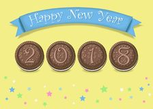 Happy New Year 2018. Sweet cookies font stock photography