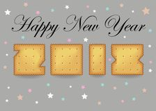 Happy New Year 2018. Sweet cookies font stock images