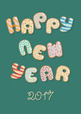 Happy New Year 2017. Sweet Donuts. Artistic font. White letters with colorful cream decor. Vector illustration Stock Photography