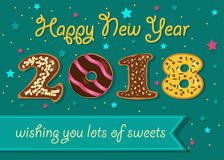 Happy New Year 2018. Sweet donuts numerals. Happy New Year 2018. Numerals are as sweet chocolate donuts. Blue banner with text Wishing you lots of sweets. Green royalty free illustration