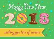 Happy New Year 2018. Sweet donuts numerals royalty free stock image