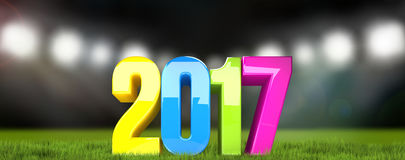 Happy new year 2017. sylvester 2017 colorful 3D render. Illustration Stock Photos