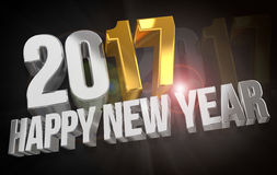 2017 happy new year. 2017 sylvester gold 3d render. Graphic Royalty Free Stock Images