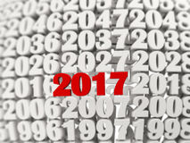 2017 Happy New Year symbol with other years. 3D illustration Stock Photography