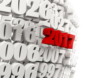2017 Happy New Year symbol with other years. 3D illustration Royalty Free Stock Photography
