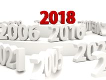 2018 Happy New Year symbol with other years. 3D illustration Royalty Free Stock Images