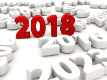 2018 Happy New Year symbol with other years. 3D illustration Royalty Free Stock Photography