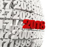 2018 Happy New Year symbol with other years. 3D illustration Stock Photography
