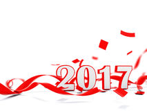 2017 Happy New Year symbol with red ribbons Stock Photo