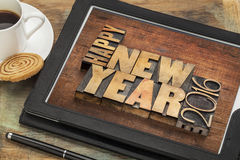Happy New Year 2016 on tablet Royalty Free Stock Image