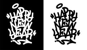 Happy new year tag in black over white, and white over black. Vector illustration. EPS 10 stock illustration