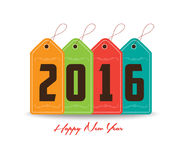 Happy new year 2016 with tag colorful Royalty Free Stock Image