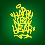 Happy New Year Tag Graffiti Style Label Lettering On Blackboard. Vector Illustration. Happy New Year Tag Graffiti Style Label Lettering On Blackboard. Vector vector illustration