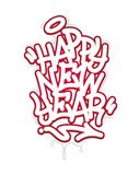 Happy New Year Tag Graffiti Style Label Lettering On Blackboard. Vector Illustration. Happy New Year Tag Graffiti Style Label Lettering On Blackboard. Vector royalty free illustration