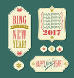 Happy New Year 2017 tags vintage typography design elements. And icons Royalty Free Stock Images