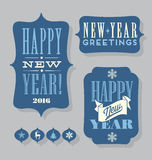 Happy New Year 2016 tags vintage typography design elements Stock Image