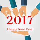 Happy New Year 2017. Team business men holding numbers 2017, and text congratulations, greetings. Abstract Vector graphic illustration flat design. Isolated on Royalty Free Stock Photography
