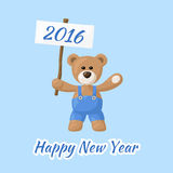 Happy New Year with Teddy Bear Stock Images