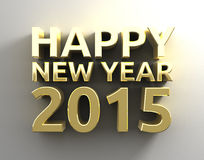 Happy new year 20015 template background. Gold 3D Happy new year 20015 template background Stock Photo