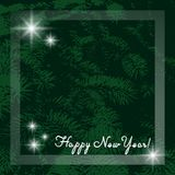 Happy New Year. Template for card or invitation. Modern green background with a branch of a Christmas tree, a frame and 3d white l. Etters vector illustration