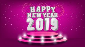 2019 Happy New Year template with creative background design for your greetings card, invitation, posters, brochure, banners,. Calendar, greetings card and vector illustration