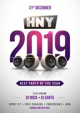 Happy New Year template design with shiny purple text 2019 on wh. Ite background for celebration concept vector illustration