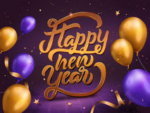 2017 Happy New Year template. Golden calligraphy words with balloons and particles on purple background Royalty Free Illustration