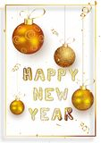 Happy New Year template or greeting card design decorated with r. Ealistic golden baubles hang on white background stock illustration
