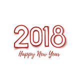Happy New Year 2018 template for greeting card. Happy New Year 2018 template for poster, brochure, greeting card or flyer. Red and white abstract design Stock Image