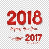 Happy New Year 2017- 2018 template for poster. Happy New Year 2017- 2018 template for poster, brochure, greeting card or flyer. Red design. Vector illustration Stock Image