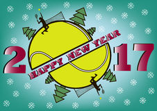 Happy new year 2017 and  tennis ball. Happy new year 2017 and tennis with Christmas trees. Tennis player makes supply. Vector illustration Stock Image