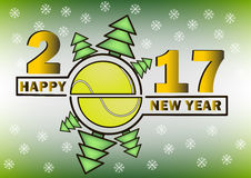 Happy new year 2017 and  tennis ball. With Christmas trees. Vector illustration Royalty Free Stock Photos