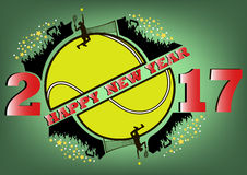 Happy new year 2017 and tennis ball. With tennis fans. Vector illustration Royalty Free Illustration