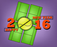 Happy new year and tennis. Happy New Year 2016 and a tennis on field background Royalty Free Stock Photography