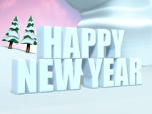 Happy New Year Text. 3D render illustration with snow Royalty Free Stock Image
