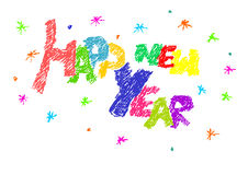 Happy new year text. Colorful simple text - happy new year Royalty Free Stock Image