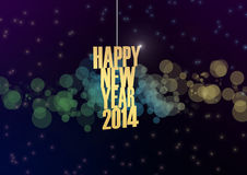 Happy new 2014 year text abstract background. Happy new year 2014 text in glow colorful background stock illustration
