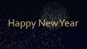 Happy New Year text, animated bottle and fireworks. Happy New Year text, animated bottle and colored fireworks stock video