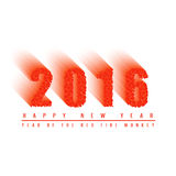 2016 happy new year text background of fiery ball, numbers of moving fiery circles, mockup greeting card Stock Photo
