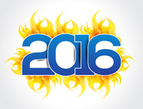 Happy new year 2016 text background with fire. Vector illustration vector illustration