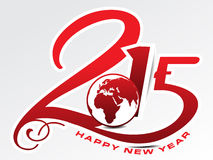 Happy new year 2015 text background with globe Stock Images