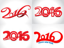Happy new year 2016 text background set. Vector illustration Stock Images