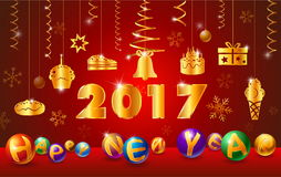 Happy new year. 2017 and text with ball glossy,ribbon Stock Photography