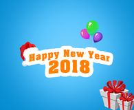 Happy new year 2018 text with balloons and gift. In blue background. Beautiful text new year 2018 Royalty Free Illustration