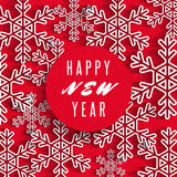 Happy New Year text banner, white snowflakes on red background, winter holiday greeting card Royalty Free Stock Images