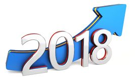 Happy new year 2018 text with blue arrow. Happy new year 2018 with blue arrow on a white background 3D illustration Royalty Free Stock Photos