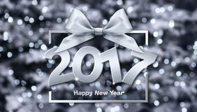 2017 Happy New Year text. In blurred Background for your Flyers and Greetings Card. Ideal to use for parties invitation, Dinner invitation, Christmas stock illustration