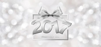 2017 Happy New Year text. In blurred Background for your Flyers and Greetings Card. Ideal to use for parties invitation, Dinner invitation, Christmas Stock Images