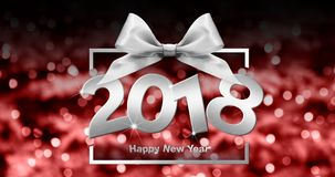 Happy new year text in box frame with silver ribbon bow on red c Royalty Free Stock Image