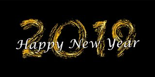 Happy New Year text. Bright gold number 2019 with sparkle isolated on black background. Holiday golden glitter design. For Christmas celebrate, banner royalty free illustration